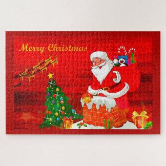 Puzzle Santa en la chimenea