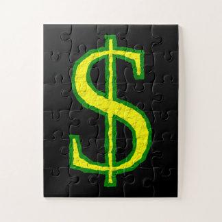 Puzzle Símbolo verde y amarillo del dólar