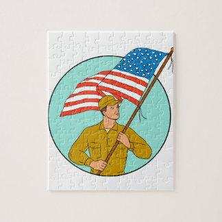 Puzzle Soldado americano que agita el dibujo del círculo