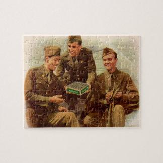 Puzzle soldados del anuncio de los años 40 WWII con el