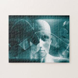 Puzzle Tecnología futurista de la ciencia médica como