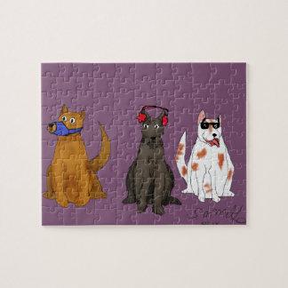 """Puzzle """"Tres perros obedecen"""" el rompecabezas, 8"""" x 10"""","""