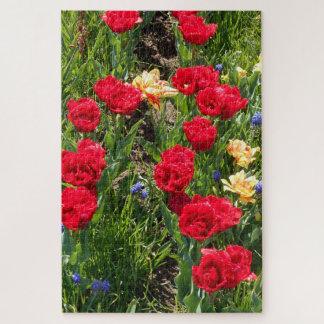 Puzzle Tulipanes rojos y amarillos