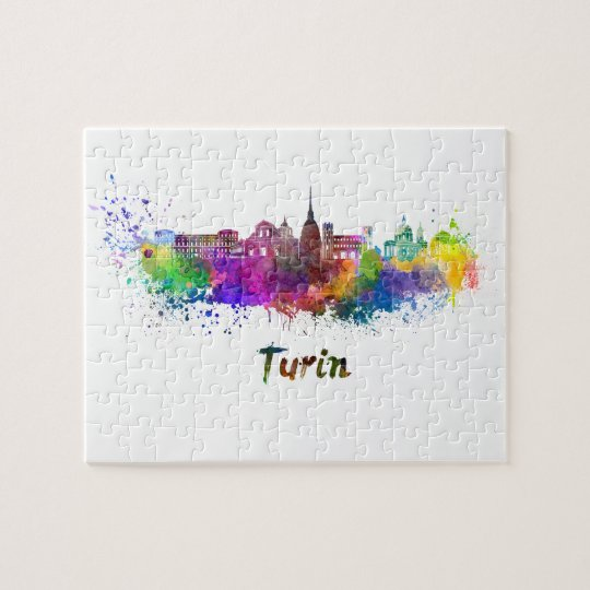 Puzzle Turin skyline in watercolor