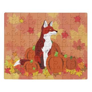 Puzzle Un Fox en el remiendo de la calabaza