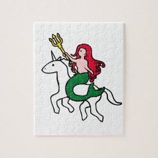 Puzzle Unicornio del vuelo del montar a caballo de la