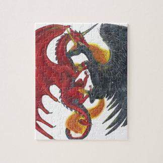 Puzzle Unicornio negro del fuego y dragón rojo