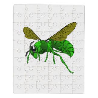 Puzzle Verde del dibujo animado y abeja de la avispa del