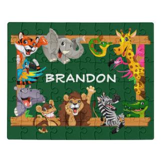 Puzzle Verde lindo conocido de los animales del safari de