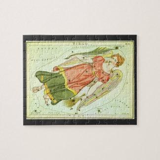 Puzzle Virgo del vintage, Virgen, muestras antiguas del