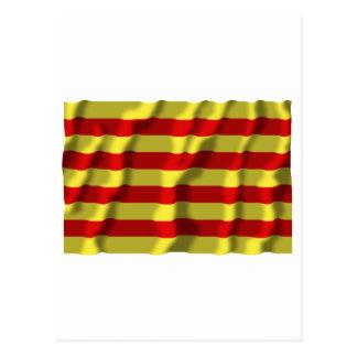 Pyrénées-Orientales waving flag Post Card