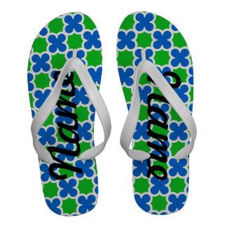 Quatrefoil azul y verde fluorescente personalizado
