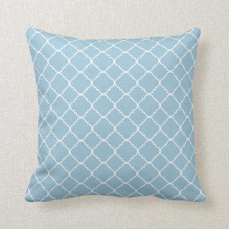 Quatrefoil blanco azul claro cojín decorativo