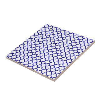 Quatrefoil blanco azul marino azulejo de cerámica