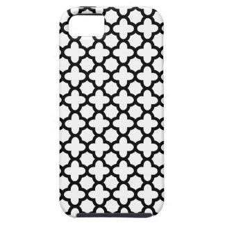 Quatrefoil blanco y negro funda para iPhone SE/5/5s
