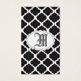 Quatrefoil blanco y negro tarjeta de negocios