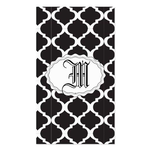 Quatrefoil blanco y negro plantilla de tarjeta de negocio