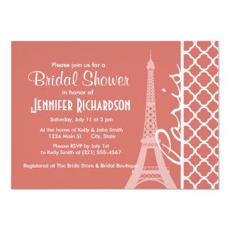 Quatrefoil de color salmón oscuro; Torre Eiffel Invitación 12,7 X 17,8 Cm