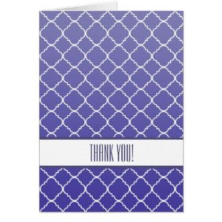 Quatrefoil púrpura le agradece tarjeta pequeña