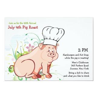 ¿Que asa?  Invitación de la carne asada del cerdo Invitación 12,7 X 17,8 Cm