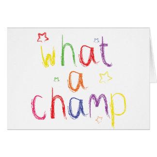 Qué enhorabuena de un campeón tarjeta de felicitación