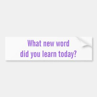 ¿Qué nueva palabra usted aprendió hoy? Pegatina