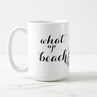 Qué taza de café ascendente de la playa