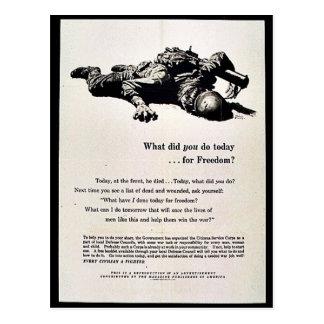 ¿Qué usted hizo hoy para la libertad? Postal