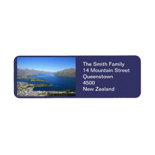 Queenstown NZ, etiqueta de dirección adaptable