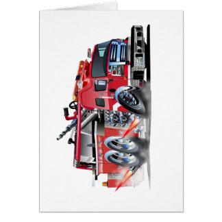 quemadura del firetruck tarjeta pequeña