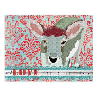 Querido rojo de los ciervos y postal del damasco d