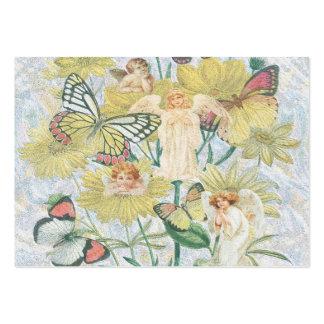 Querubes, mariposas y flores en amarillo tarjetas de visita grandes