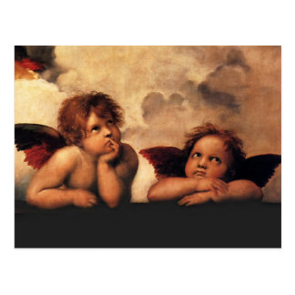 Querubes Sistine Madonna de Raphael 2 ángeles Postal