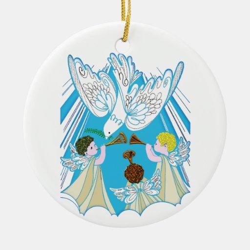 Querubes y paloma de la paz ornaments para arbol de navidad