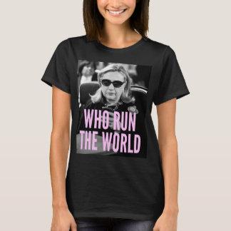 Quién corren la camiseta básica de las mujeres del