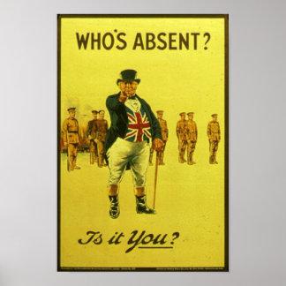¿Quién está ausente?  ¿Es usted? Poste del recluta Póster