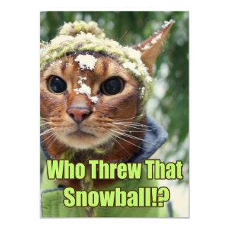 ¿Quién lanzó esa bola de nieve!? Tarjetas planas - Invitación 11,4 X 15,8 Cm