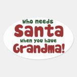 Quién necesita a Papá Noel Calcomanía Ovaladas Personalizadas