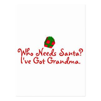 Quién necesita Santa yo tenga la abuela Postal
