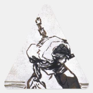 ¿Quién puede pensar en él? por Francisco Goya Pegatina Triangular