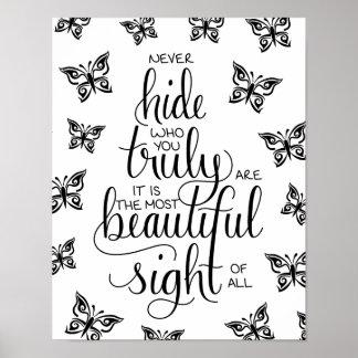 Quién usted es hermoso, poster de las mariposas