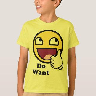 Quiera el smiley impresionante de la cara camiseta