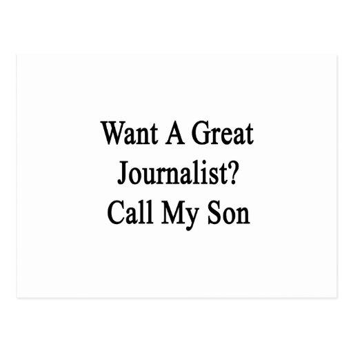 Quiera una gran llamada del periodista mi hijo tarjetas postales