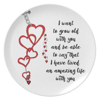 Quiero crecer viejo con usted plato