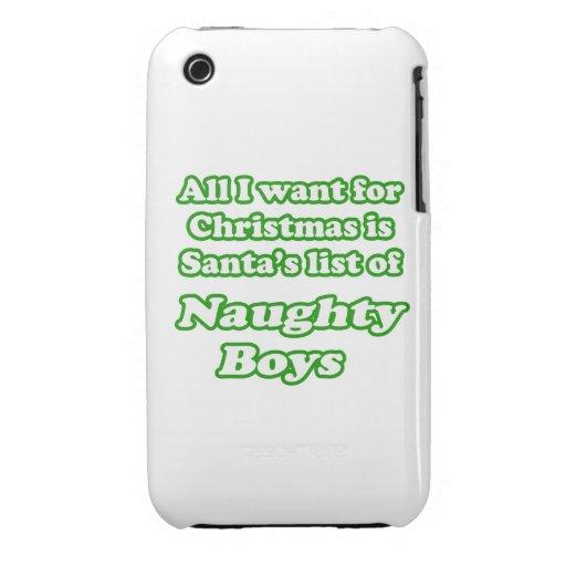 Quiero la lista de Santa de muchachos traviesos iPhone 3 Case-Mate Carcasa