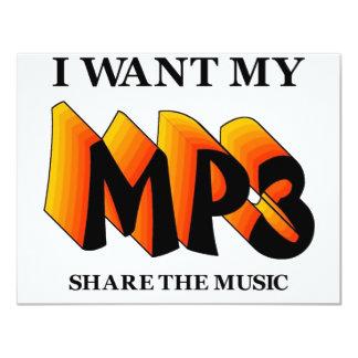 Quiero mi MP3 Invitación 10,8 X 13,9 Cm