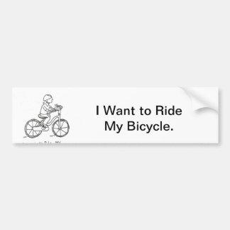 Quiero montar mi bicicleta pegatina de parachoque