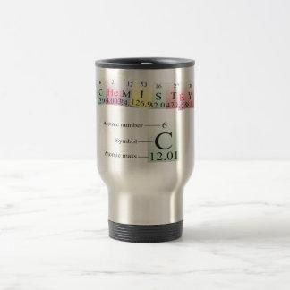 Química deletreada con los elementos tazas de café