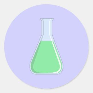 Química Erlenmeyer pistón chemistry flask Pegatina Redonda