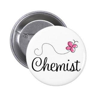 Químico rosado lindo de la mariposa chapa redonda de 5 cm